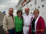 Chris and Charolett Brown with Mike and Jeannell Charman, docked in Civitavecchia, Italy.